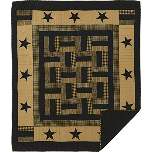Hand Pieced Quilt - VHC Brands Classic Country Primitive Bedding - Delaware Black Quilt, Twin