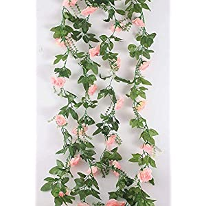 MARJON Flowers2 Pack Artificial Rose Vine Fake Rhododendron Silk Flowers Garlands Hanging Ivy Plants Home Hotel Office Wedding Party Garden Décor Pink 54