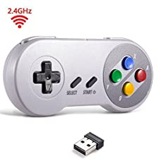 2.4 GHz Wireless USB Controller Compatible with Super Famicom Games, iNNEXT SNES Retro USB Classic Controller Joypad Joystick for Windows PC MAC Linux Raspberry Pi Sega Genesis (Multi-Colored Keys)