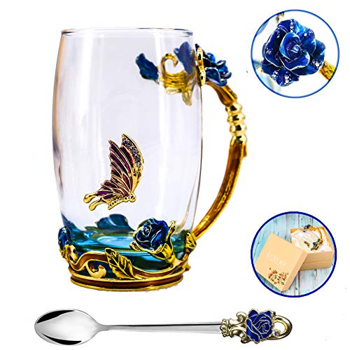(Tea Cup, Mother's Day Gifts, Coffee Mug, Clear Glass Cups with Spoon Set, Lead Free Handmade Butterfly, Unique Rose Flower Enamel Design, Birthday Decoration Wedding Gift Ideas (Blue)
