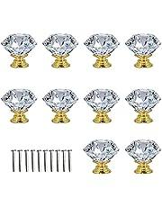 Crystal Door Knobs,10 Pcs Crystal Door Handles Brass,30mm Glass Drawer Knobs Crystal Door Handles Diamond Pulls with Screws for Home Kitchen Office Chest Bin Drawer Decorating (Golden)