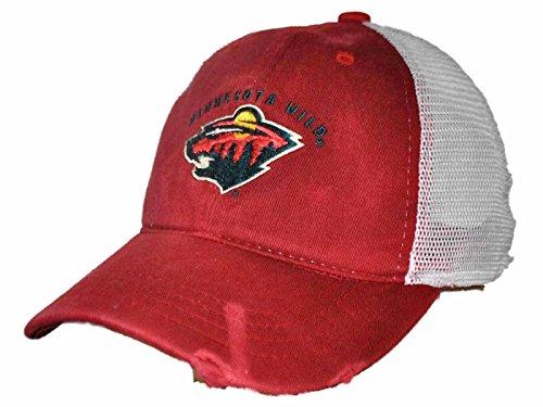 Original Retro Brand Minnesota Wild Retro Brand Red Worn Mesh Vintage Adjustable Snapback Hat - Minnesota Wild Caps