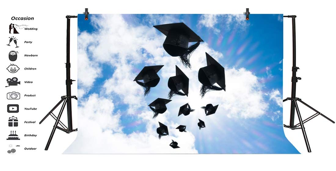 Yeele 10x8ft Photography Background Graduation Celebration Caps in Sky Convocation Honoring Ceremony School Student Hat Diploma Academic Education Success College Props Photo Backdrop Wallpaper