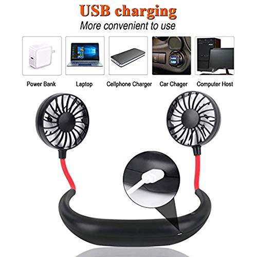 Hand Free Personal Fan Kopfh/örer Tragbarer Nackenb/ügel-L/üfter Tragbarer USB-Akku Wiederaufladbarer Mini-L/üfter