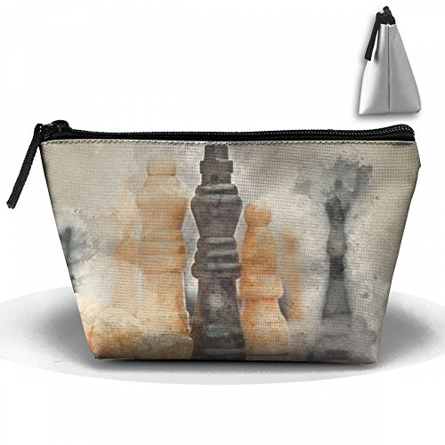 Watercolour Painting Chess Cosmetic Bags Portable Travel Toiletry Pouch Makeup Organizer Bag With - Painting Checkmate