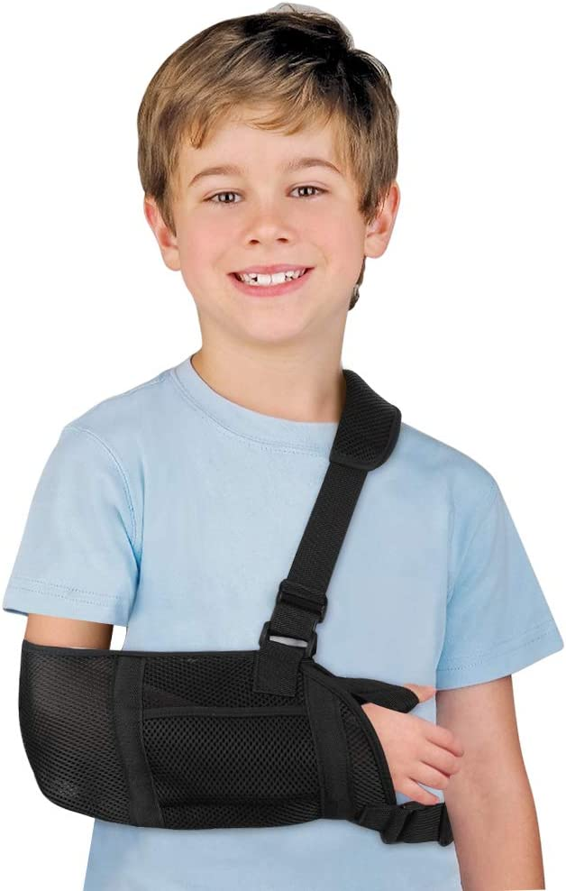 Arm Sling Support Adjustable Shoulder Wrist Elbow Sling, Stabilization for Injured Forearm Supporter Cuff Wrist Elbow Brace Immobilizer Fracture Protector for Child Kids Left and Right Hand