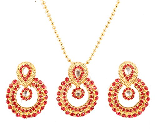 - NEW! Touchstone Indian Bollywood Elite Mughal Kundan Look Faux Ruby Chand Baali Moon Bridal Designer Jewelry Pendant Set For Women In Gold Tone.