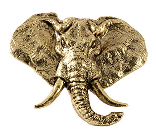 Wildlife Pin (Creative Pewter Designs, Pewter Elephant Head Handcrafted Wildlife Lapel Pin Brooch, 24k Gold Plated, MG091PR)