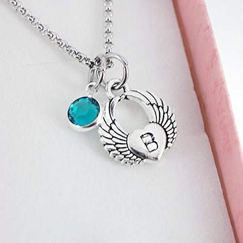 Antique Silver Plated Pewter Winged heart charm pendant necklace, personalized by hand stamping an initial on the heart of the pendant.