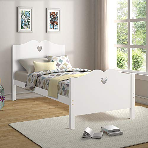 Bed Frame Twin Platform Bed with Wood Slat Support and Headboard and Footboard (White)