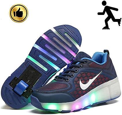 YURU Zapatos para Niños Zapatos De Tacón con Ruedas para Niños Zapatillas Deportivas con Patín De Ruedas De Dos Ruedas para Niños Zapatos Casuales con Ruedas,B-EU36: Amazon.es: Hogar