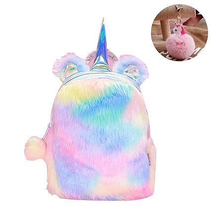 e8bd217293 Amazon.com  CCUT Plush Unicorn Backpack Velvet Soft Rainbow Backbag Toddler Kids  Backpacks Cute Plush Little Girls Boys Animal Backpacks Gifts - 12 inch ...