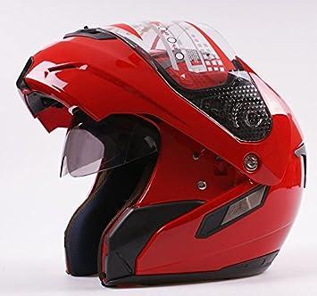 Casco modulare apribile, jet/integrale, con doppia visiera, per moto e scooter, colore: rosso MRC
