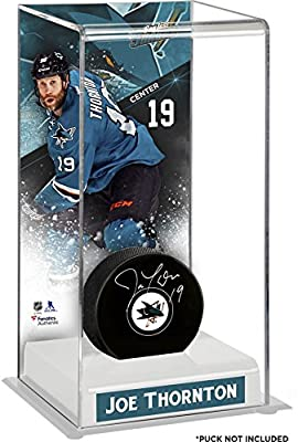 Joe Thornton San Jose Sharks Deluxe Tall Hockey Puck Case - Fanatics Authentic Certified - Hockey Puck Display Cases No Logo