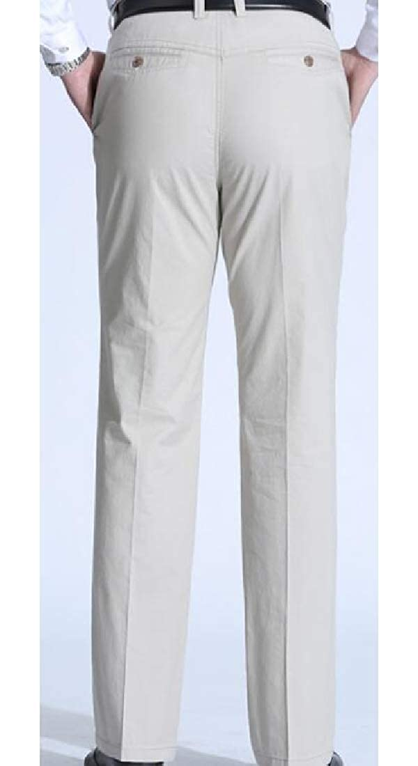 Jotebriyo Mens Cotton Expandable Waist Summer Business Straight Dress Pants