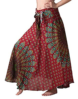 Bangkokpants Women's Long Hippie Bohemian Skirt Gypsy Dress Boho Clothes Flowers One Size Fits Asymmetric Hem Design