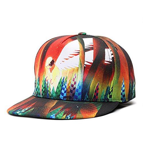 SUPERCB Unisex's Cap Snapback Adjustable Dance Hat Plain Baseball 3D Print Hip Hop Angel Pink Angel Hat