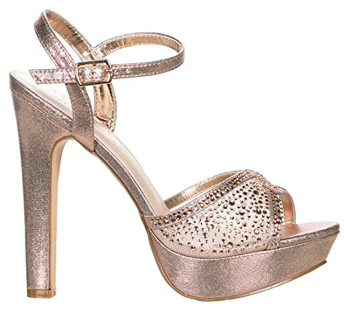 DeBlossom Blossom Womens Vice-126-233 Bridal Formal Evening Party Ankle Strap High Heel Peep Toe Glitter Sandal Rose Gold Shimmer il1sAw9Y