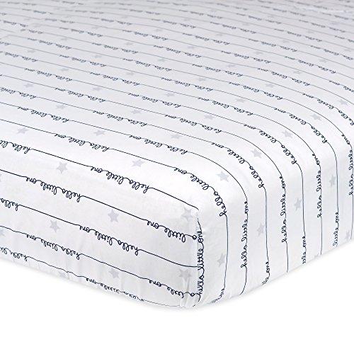 Gerber 100% Cotton Fitted Crib Sheet, Hello Little (100% Cotton Stars)