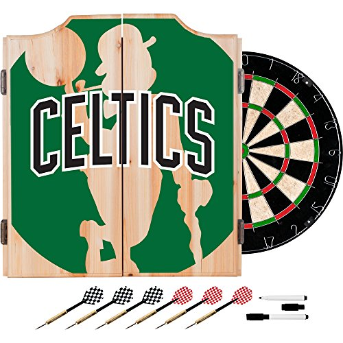 Home Trademark Gameroom NBA7010-BC2 NBA Dart Cabinet Set with Darts & Board - Fade - Boston Celtics