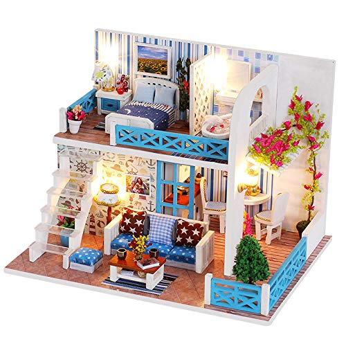 Spilay DIY Miniature Dollhouse Wooden Furniture Kit,Handmade Mini Home Model Plus with Dust Cover&Music Box ,1:24 Scale 3D Puzzle Creative Doll House Toys for Children Gift(Home of Helen K019) - Handmade Dollhouse Furniture