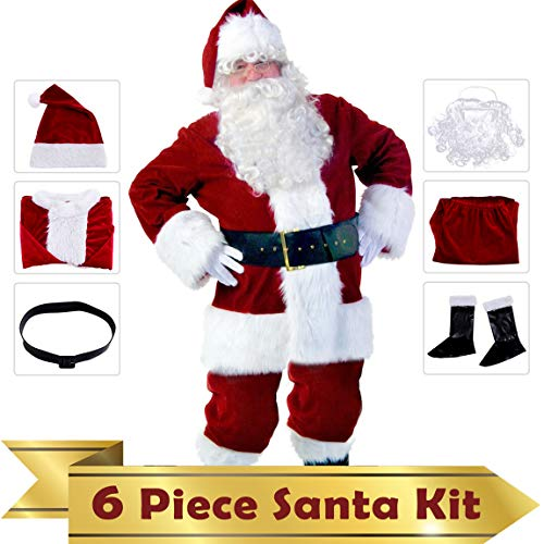 PrettyQueen Santa Claus Costume for Men Santa Suit Adults Men with Santa Hat Beard OneSize(6 Pcs,Burgundy)