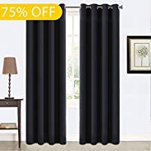 Balichun 99% Blackout Thermal Insulated Blackout Grommet Window Curtain for Living Room (2 Panels, W52 x L84, Black)