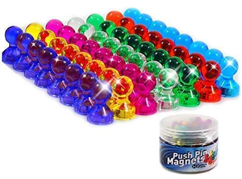 56 Colorful Push Pin Magnets | 7 Assorted Color Strong Magnetic Push Pins | Perfect to use as Refrigerator Magnets, Whiteboard Magnets, Map Magnets, Calendar Magnets, Office Magnets and School Magnets
