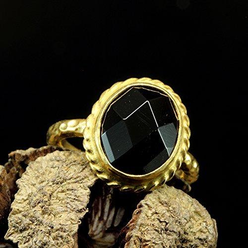 Natural Round Black Onyx Gemstone Hammered 925 Sterling Silver Handmade Ring