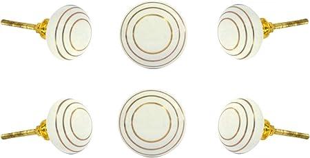 Set of 6 Round White Adington Mixed Media Knobs