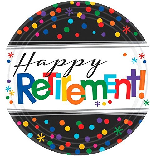 Amscan Fun-Filled Retirement Party Happy Retirement Round Dessert Plates (8 Piece), Multi Color, 7 x 7