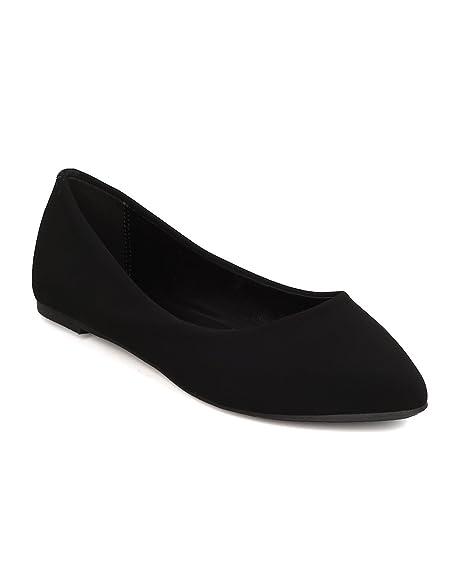 d593ad4266a Women Nubuck Pointy Toe Slip On Ballet Flat FI62 - Black (Size  7.5)
