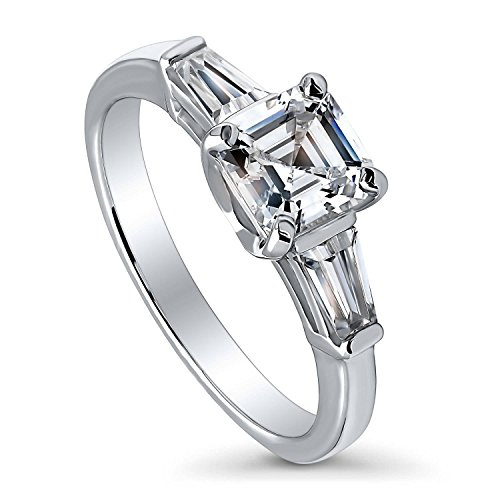 BERRICLE Rhodium Plated Sterling Silver Cubic Zirconia CZ 3-Stone Promise Engagement Ring Size 5 - Asscher Tapered Ring