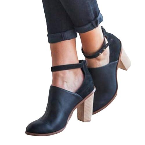 Botas de Mujer Hebilla Zapatos de Mujer Apuntado Botines de Tobillo Color Sólido Martín Botas 6-8cm Tacón Alto Cuadrado Moda Otoño Invierno Zapatos Negro ...