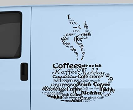 myDruck-Store Adhesivo Coche Taza de Café Decoración Texto Tatuaje ...