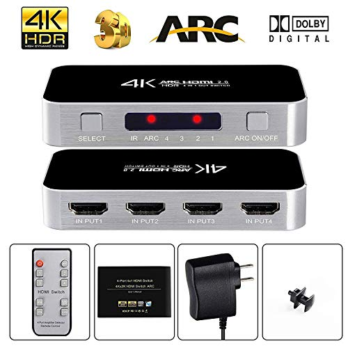 avedio links HDMI Switch with Audio Out, 4K@60Hz 4 Port 4 x 1 HDMI Switcher Selector with IR Wireless Remote Control,Max Bandwidth of 18Gbps, Support DTS-HD/Dolby-TrueHD/DTS/Dolby-AC3/ DSD