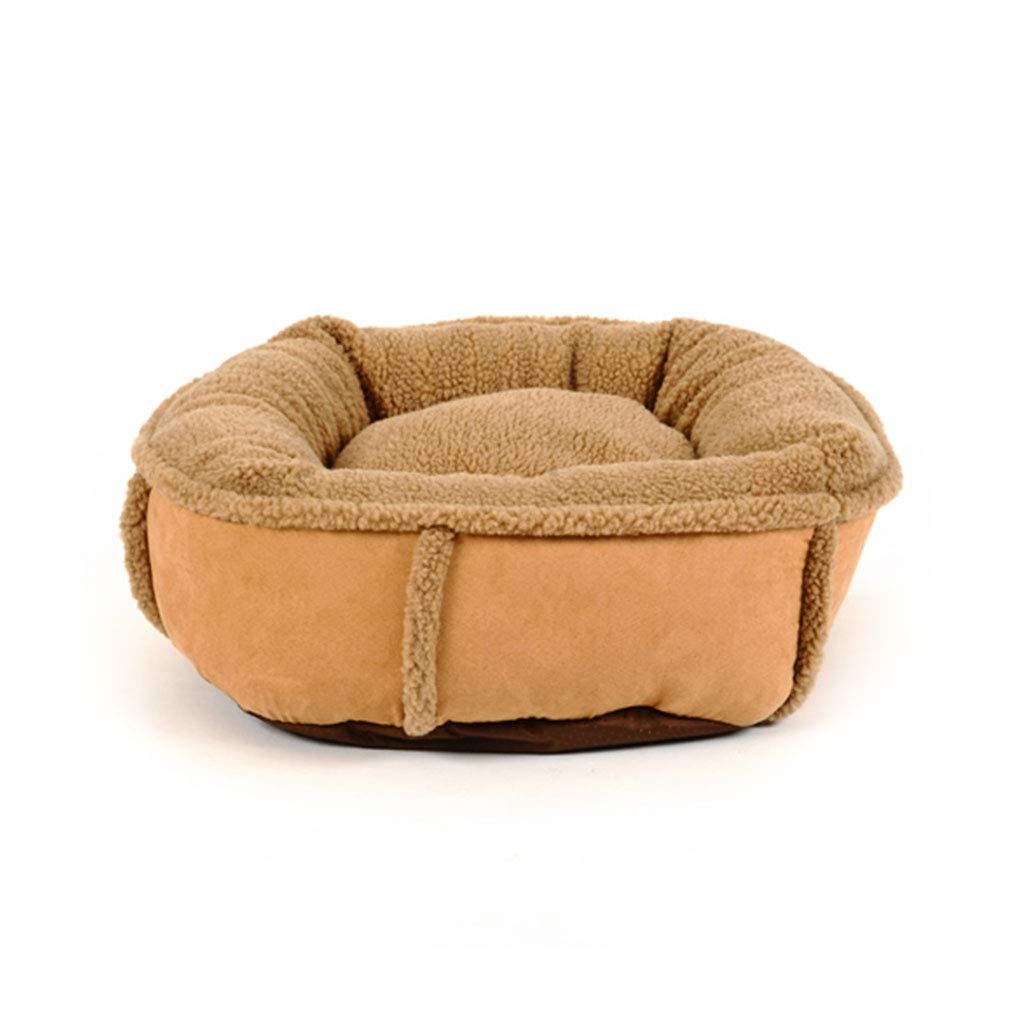 Khaki 907518cm Khaki 907518cm Pet Bed Washable Plush Soft Deluxe Comfy Cat Dog Bed Waterloo Removable Cushion CHENGYI (color   KHAKI, Size   90  75  18cm)