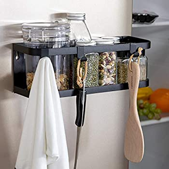 X-Chef Magnetic Spice Rack for Refrigerator, Single Tier Magnetic Shelf with 3 Removable Hooks, Black