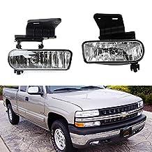 iJDMTOY Clear Lens Fog Lights Foglamp Kit with 880 Halogen Bulbs w/ Mounting Brackets For 1999-2002 Chevrolet Silverado 1500 2500, 2000-2001 3500, 2000-2006 Suburban Tahoe
