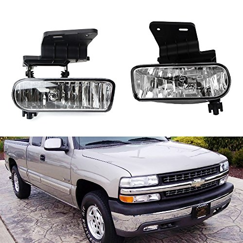 iJDMTOY Clear Lens Fog Lights Foglamp Kit with 880 Halogen Bulbs w/ Mounting Brackets For 1999-2002 Chevrolet Silverado 1500 2500, 2000-2001 3500, 2000-2006 Suburban (Replacement Fog Light Lens)