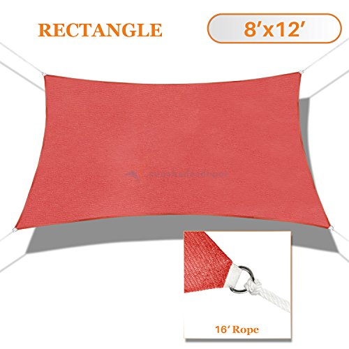 Sunshades Depot 8' x 12' Sun Shade Sail Rectangle Permeable Canopy Rust Red Custom Size Available Commercial Standard