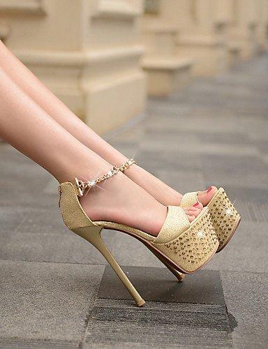ShangYi Womens Leather Stiletto Heel Heels/Peep Toe/Platform Sandals/Pumps/Heels Wedding/Party & Evening/Casual Black/Gold golden