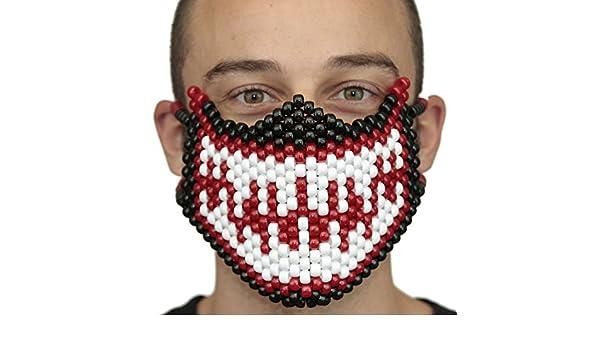 Mascara Kandi Completa de Veneno (Venom) Roja y de Spiderman Blanca por Kandi Gear, mascara de rave, mascara de halloween, mascara de cuentas para ...
