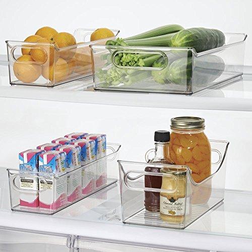 mDesign Kitchen, Pantry, Refrigerator, Freezer Storage Organizer Bins - Set of 4, Clear