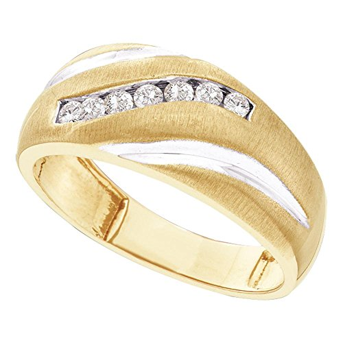 14kt Yellow Gold Mens Round Diamond Single Row Brushed Wedding Band Ring 1/4 Cttw (Diamond Band Wedding Single)