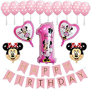 BE Happy Minnie Mouse 1st Birthday Party Supplies Decorations Banner Balloon For Girl Decor Pink