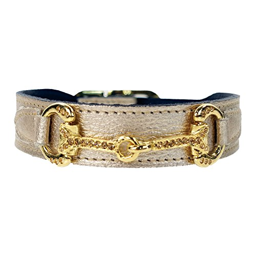 Hartman & Rose Horse and Hound Dog Collar, 12 to 14-Inch, Metallic Gold
