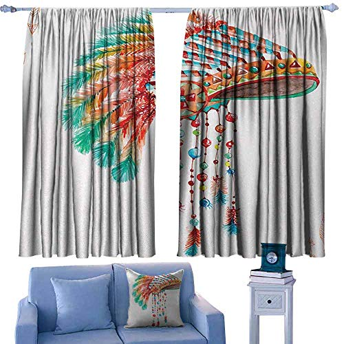 Mannwarehouse American Thermal Curtains Watercolor Tribal Native Chief Headdress with Feathers Beads Arrow Figures Print Darkening and Thermal Insulating 63