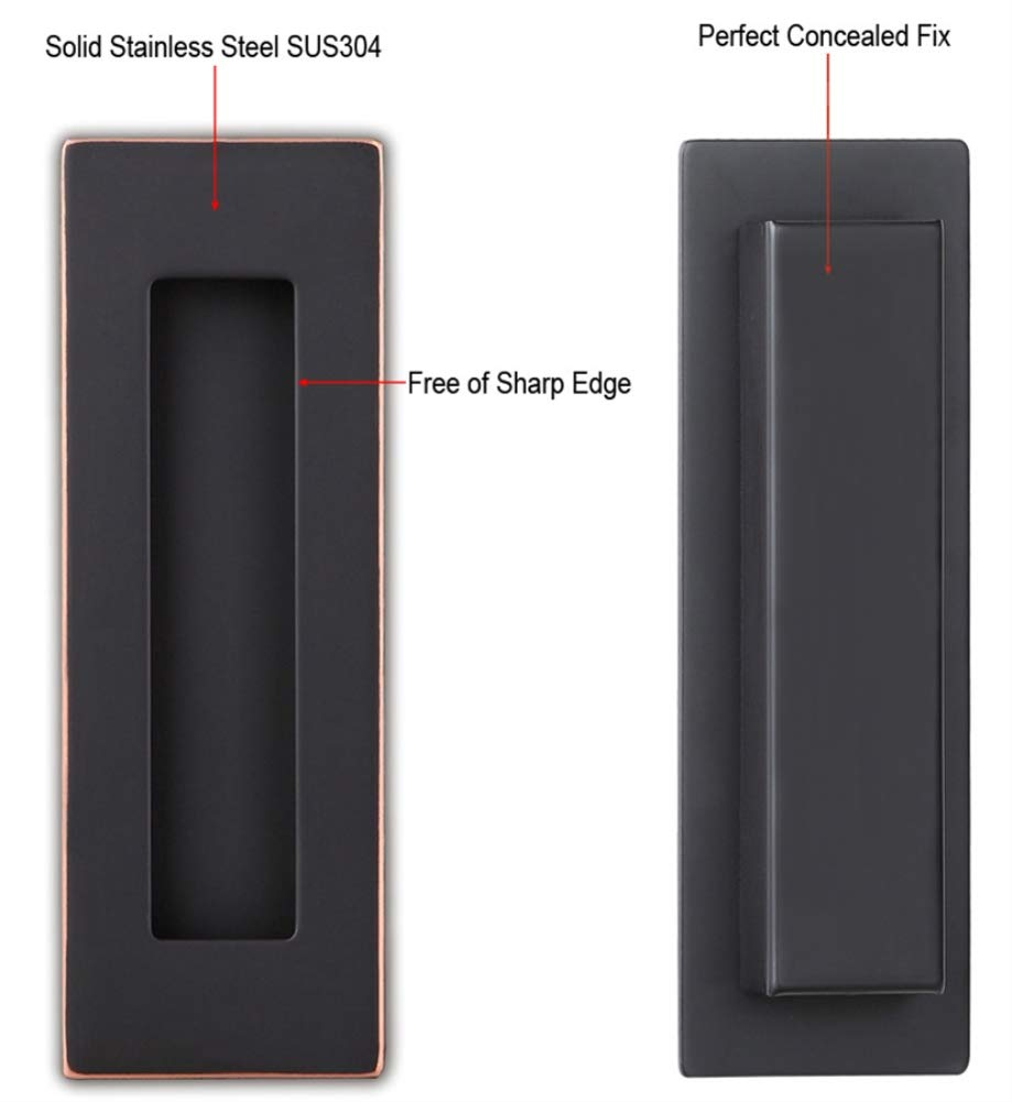 Sehrgut Flush Pull Handle (2 Pack) 6'' Rectangular Plated Oil Rubbed Bronze, Free of Sharp Edge, for Sliding Pocket Barn Door or Cabinet by Sehrgut (Image #3)