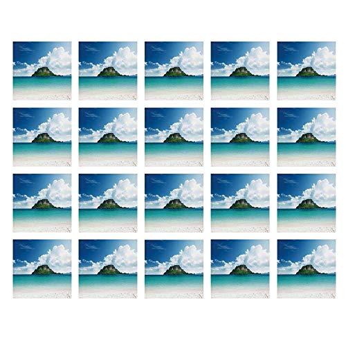 (YOLIYANA Ocean Island Decor Waterproof Ceramic Tile Stickers,Poda Island in Thailand South Asian Tropic Paradise Hot Sun with Clouds Photo for Kitchen Living Room,One Size)